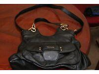 Ellie Tahari Black Leather Swing Bucket Hand Bag Top Designer Quality