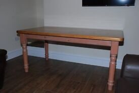 solid pine farmhouse dining table and 2 chairs, could deliver locally
