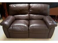 2 SEATER BROWN FAUX LEATHER RECLINER SOFA