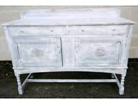 White Painted 2 Draw Cupboard Sideboard L137 x W48 x H102cm