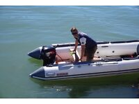 3.8M Rib, 18HP Tohatsu outboard and trailer
