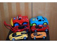 BIG COLLECTION OF CARS and OTHER VEHICLES PLUS DOUBLE SUPERSPEED ELECTRIC RACING TRACK £25