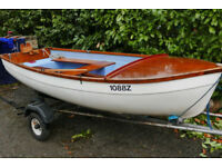 Foreland 10 ft Sailing Dinghy, Rows well and takes outboard.