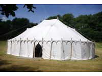 Unique Raj Marquee £5000 ONO White canvas & Indian block, hand printed lining, seats 150