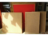 4 GREAT CORK PINBOARDS including FAB OLD-FASHIONED RED FELT BOARD - ONLY £15 THE LOT