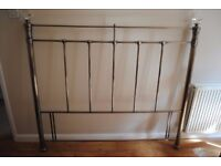 Kingsize, Antique brass bedhead with crystal finials