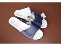 Women's navy leather slip on sandals or mules - brand new never worn Size 41