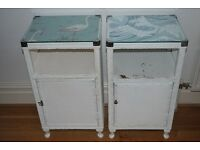 Two Lloyd Loom-style wicker bedside tables cabinets white vintage retro