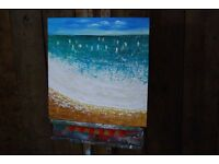 Actual OIL PAINTING sea beach sailing Brighton Hove canvas easy to hang: stick straight to wall