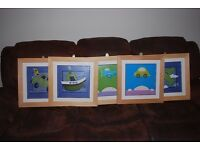 "5 Framed Children's prints pictures 18""x18"""