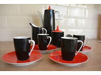 Full Vintage Black and Red Coffee Set