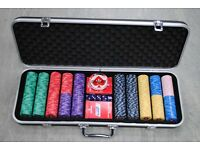 500 Piece EPT Ceramic Poker Chips with ABS Case, Cards, Button and Dice £225