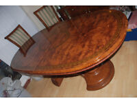 Italian Style Pedastal Dining Table - 8 Chairs and Leaf Extension