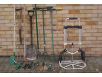 LARGE SELECTION OF GARDEN TOOLS SPADE, FORK, CULTIVATORS, RAKE, HAND TOOLS, TROLLEY £35 CAN DELIVER
