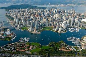 "Beautiful 24""x36"" High Definition ""Vancouver From The Air"" Picture."