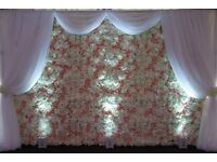Artificial silk flower wall backdrop for *HIRE* only nationwide delivery