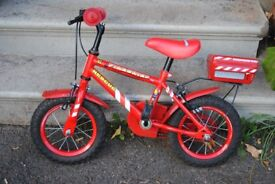 Red kids Apollo Firechief bike 12 inch wheels with stabilisers - suit 3-6 year old