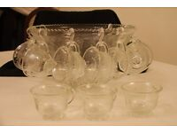 Decorated Glass Punch Bowl and Cups