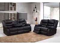 Luxury Jillian 3&2 Bonded Leather Recliner Sofa Set With Pull Down Drink Holder