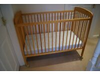 Pine Drop Side Cot & Mattress Adjustable Base Height
