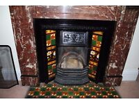 Original Antique Victorian Cast Iron Tiled Fireplace With Grate and Tiles