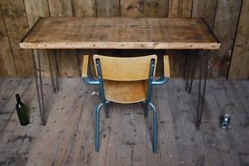 TABLE desk industrial salvage hunters steel reclaimed wood Brighton England hairpin gplanera