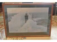 large framed print lighthouse storm at sea