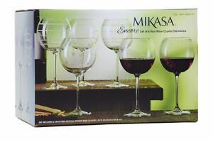 Mikasa Encore Red Wine Crystal Stemware - Set of 6 Glasses, 25oz