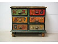 Beautiful solid teak wood chest of draw retro style hand painted