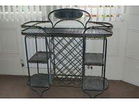 Vintage Style Galvanised Metal Garden Room Shelf Unit with Wine Rack