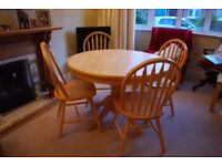Round Dining Table + 4 Chairs - Solid Pine. Good condition.