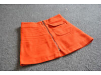 Stylish Orange Topshop Skirt with zipper in the front - Size 10