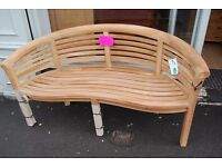 Teak Banana bench 100% teak massive discount only £199
