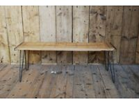 TV stand coffee table side table reclaimed wood rustic industrial plank hairpin upcycle gplanera