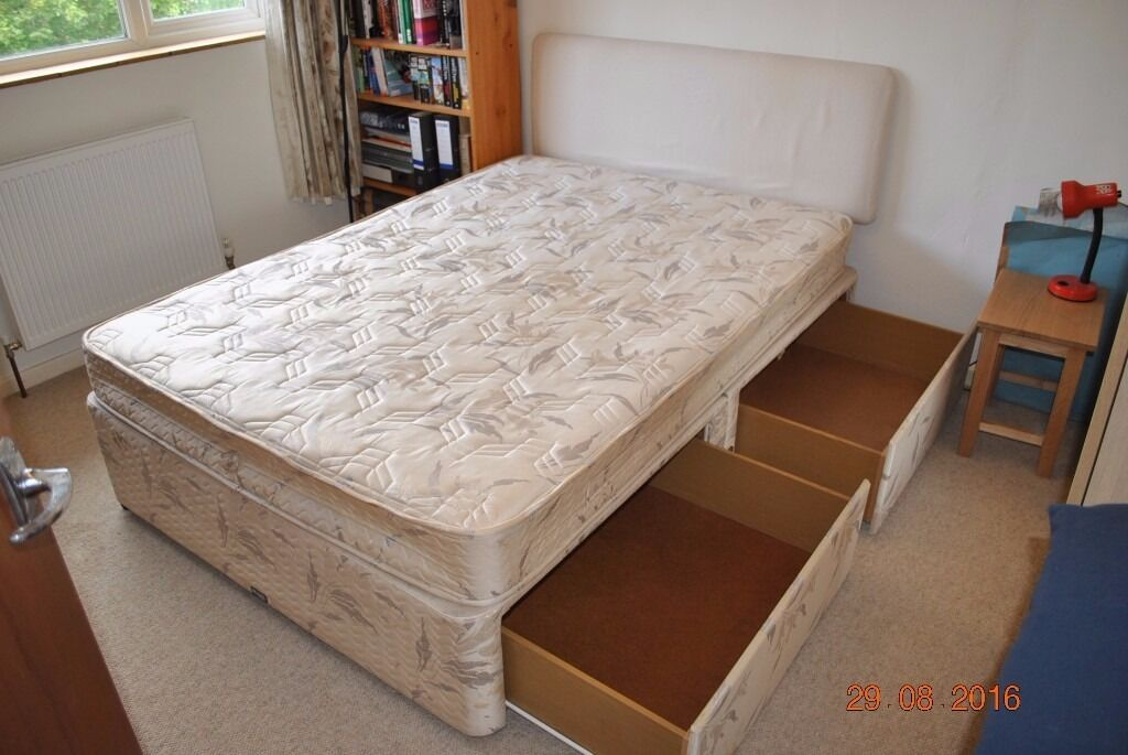 Divan bed base double mattress and head restin Oxford, OxfordshireGumtree - Divan bed base, double mattress and headboard. Good condition. Base splits into two parts for transport. £15 or near offer
