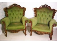 Beautiful Victorian Antique Queen Annes chairs 1930s or older (Sold as a Pair)