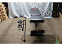 Bench, weight plates and poles