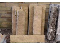 EIGHT UNUSUAL GOLD CONCRETE TEXTURED EDGING BLOCKS, NEARLY NEW, CAN DELIVER