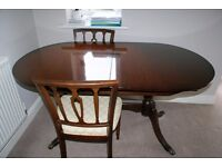 Mahogany Dining Table Extendable And 6 Chairs