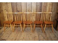 Ercol chairs x5 or x6 or x7 (or 4) natural finish elm mid century scandi modern 1950s blue gplanera