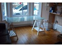 Beautiful glass top table, white wood, desk, dining table, height adjustable, easy to transport