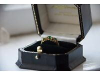 Stunning 18 carrot gold emerald and diamond ladies ring, eternity or wedding
