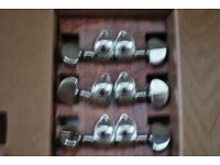 Six chrome Grover machine heads 3R 3L for guitar