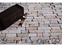 Light, Yellow & Noce Travertine Random Size Tumbled Brick Mosaic
