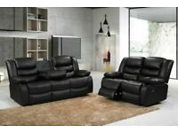 😎💥CLASSY NEW CHELSEA BONDED LEATHER RECILINERS WITH CUP HOLDER 3+2 S CORNER SOFA CHEAP BARGAIN