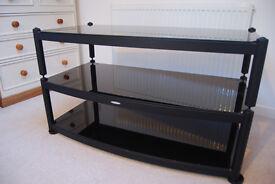 Atacama TV / AV modular AV stand - 3 shelf glass and metal in black