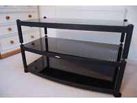 Atacama TV / AV modular AV stand - 3 shelf glass and metal in black