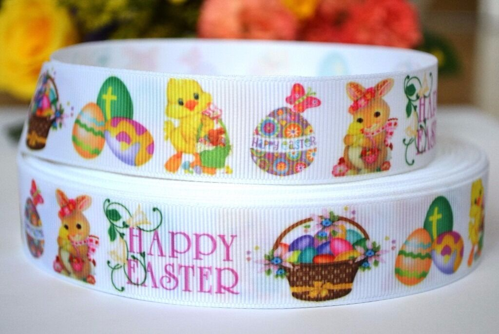 2m Easter Eggs Grosgrain Ribbon, Easter Chicken, Easter Basket, Hair Bow Ribbonin Norwich, NorfolkGumtree - 2m Easter Egg Grosgrain Ribbon This listing is for 2m (200cm) of printed grosgrain ribbon. Perfect for any craft projects, gifts wrapping, hair bows, toys. The width 25mm Orders over 2 meter will be supplied in a continuous length. If you have any...