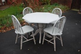 A Unique hand painted Shabby Chic Octagon shaped Pedestal Dining Table & 4 matching Chairs.