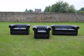 Brand New Black By-cast Leather Chesterfield Diamante 3 Piece Suite.